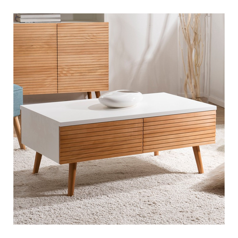 Table basse design scandinave bois et blanc ella so inside - Table basse bois et blanc ...