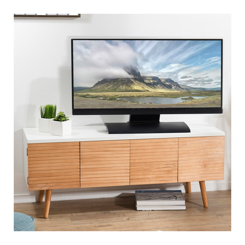 meuble tv scandinave bois et blanc ella so inside. Black Bedroom Furniture Sets. Home Design Ideas