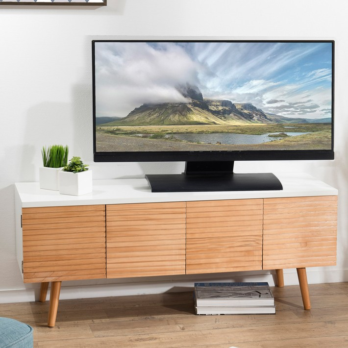 Meuble Tv Scandinave Bois Et Blanc Ella So Inside
