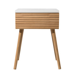 Table de chevet design scandinave bois et blanc Ella