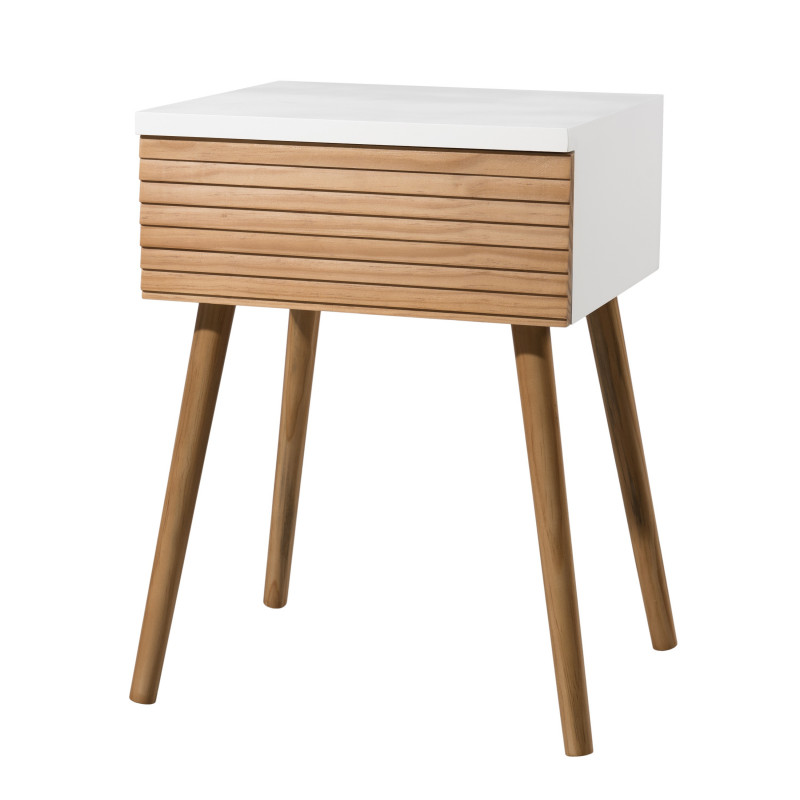 Table de chevet design scandinave bois et blanc ella so for Table scandinave blanc et bois
