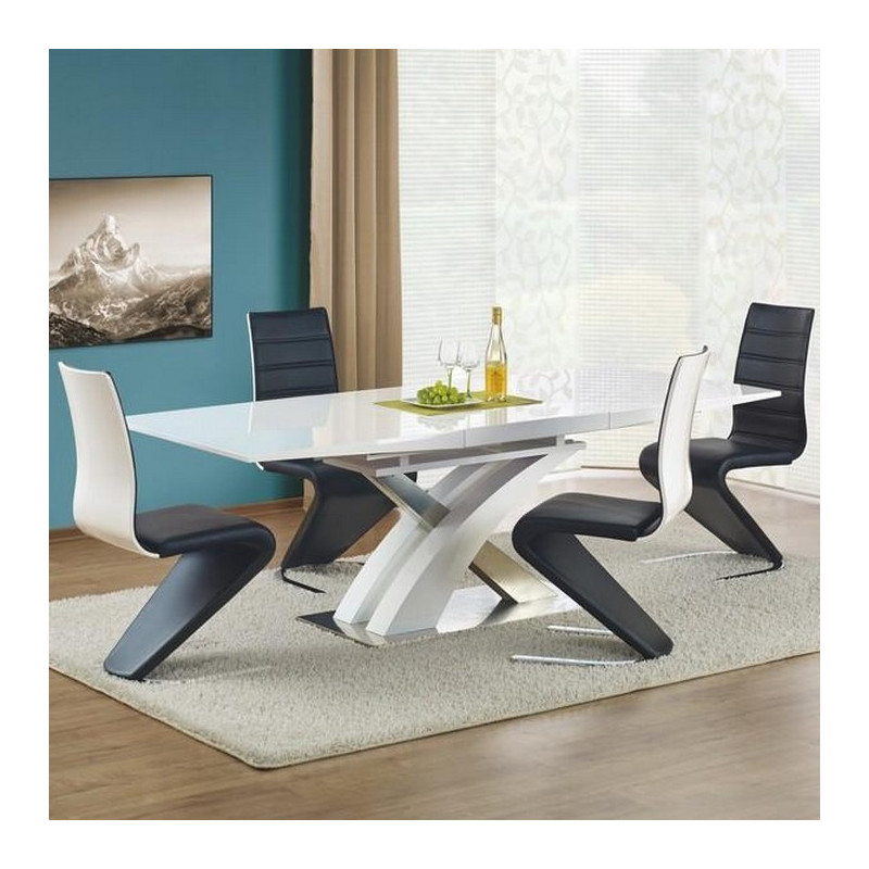 table a manger blanche laqu e avec rallonge 160 220cm elvira so inside. Black Bedroom Furniture Sets. Home Design Ideas