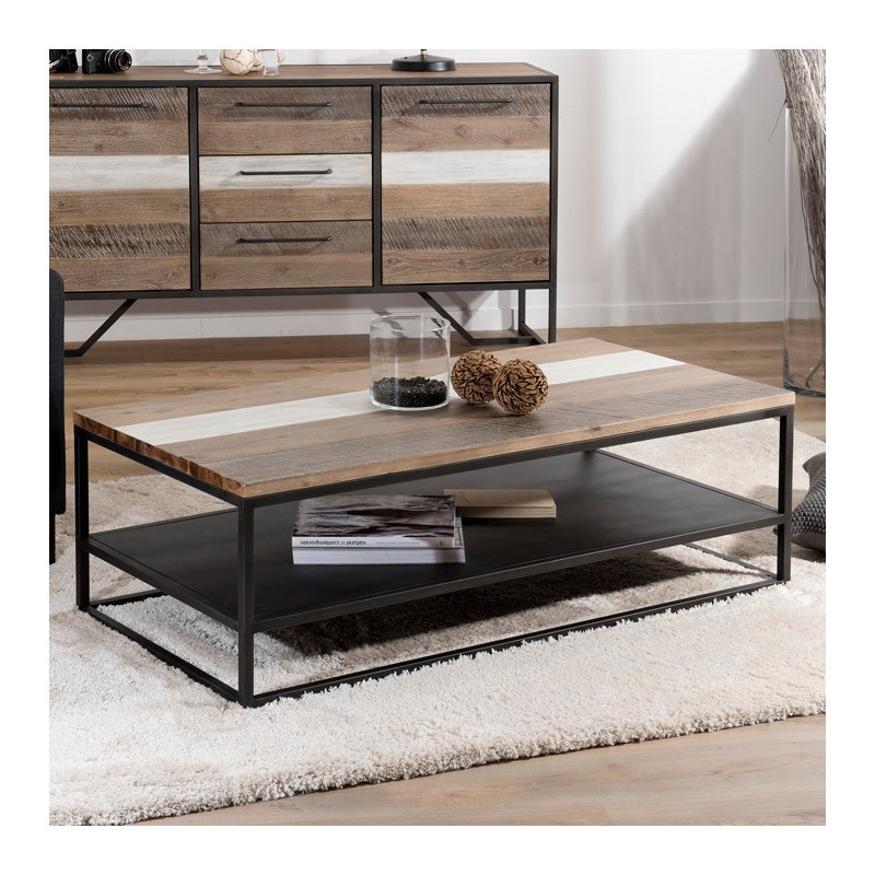 table basse industrielle bois bicolore et m tal noir pour. Black Bedroom Furniture Sets. Home Design Ideas
