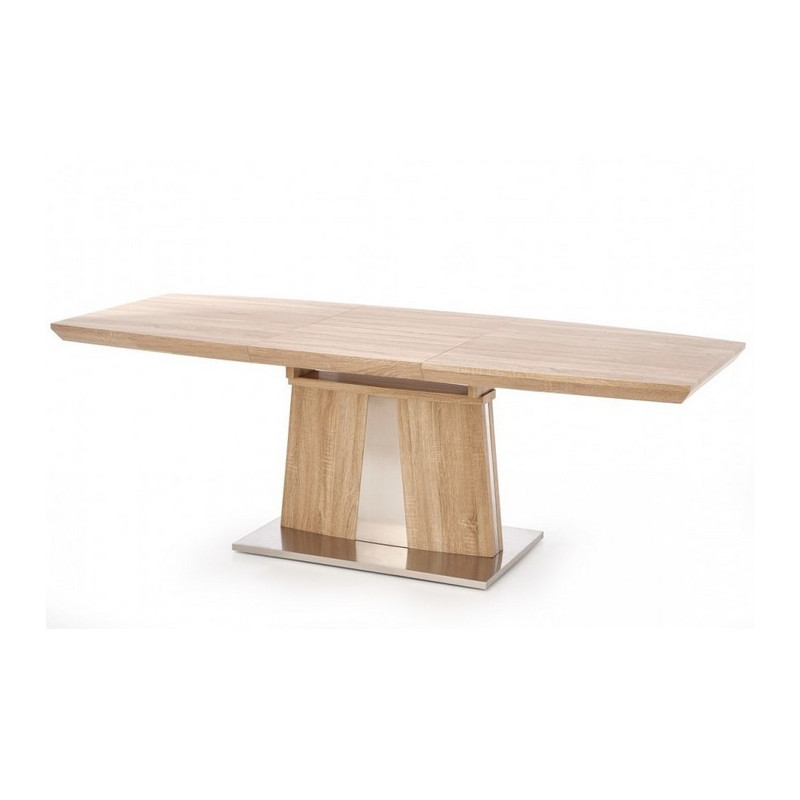 Table a manger extensible 220x90cm couleur bois pied m tal for Table a manger extensible bois