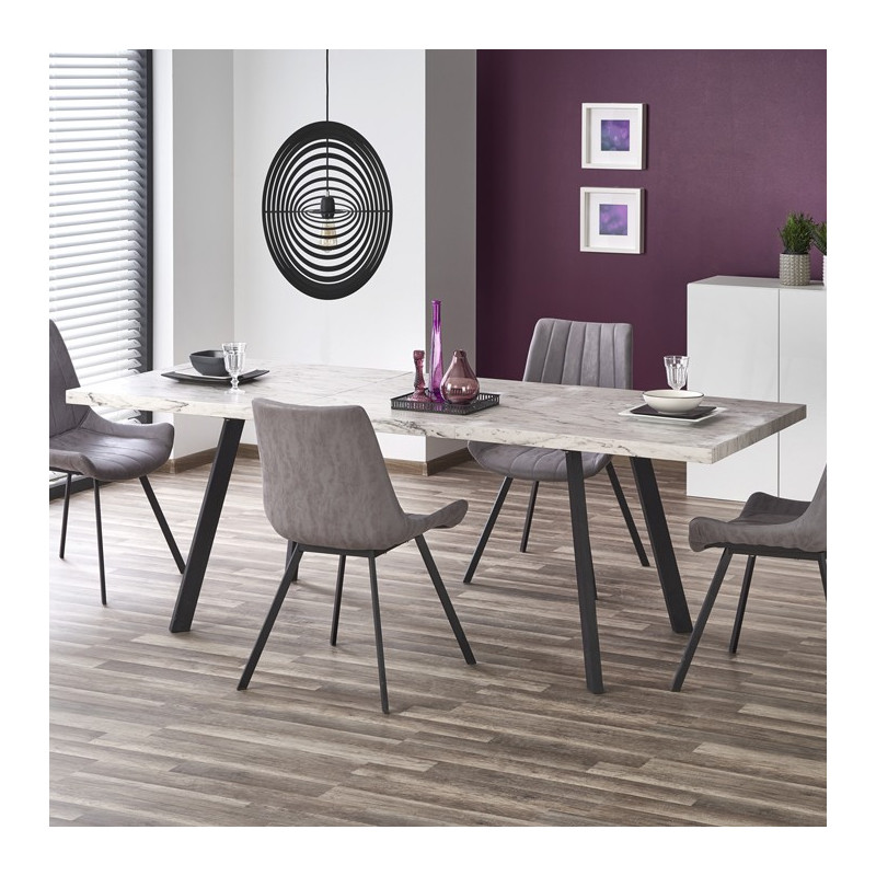 Table Salle A Manger Marbre.Table Industrielle Marbre Et Metal Mya