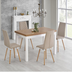 Table design scandinave bois et MDF blanc Meryl