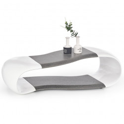 Table basse design blanche et grise 113cm Delphine
