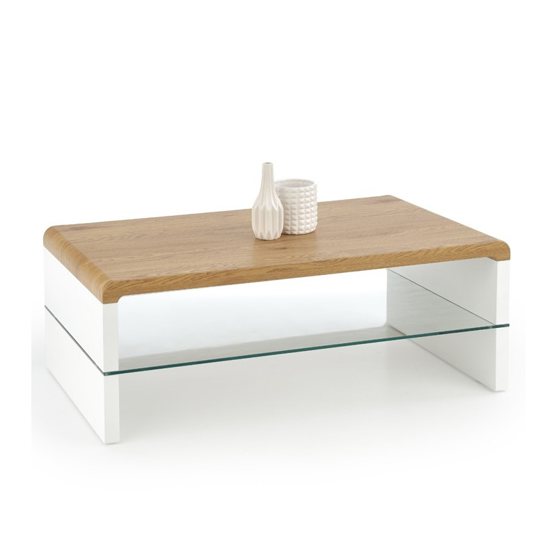 table basse design pieds blanc plateau mdf couleur bois 110 cm texon so inside. Black Bedroom Furniture Sets. Home Design Ideas