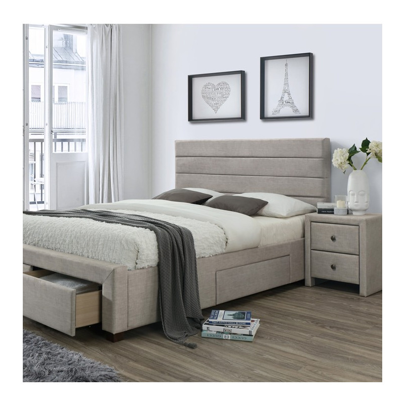 lit tissu beige 160x200 cm t te de lit matelass e l on so inside. Black Bedroom Furniture Sets. Home Design Ideas
