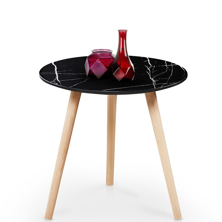 Table D Appoint Marbre Noir Et Bois Massif Wallis 50x44cm So Inside