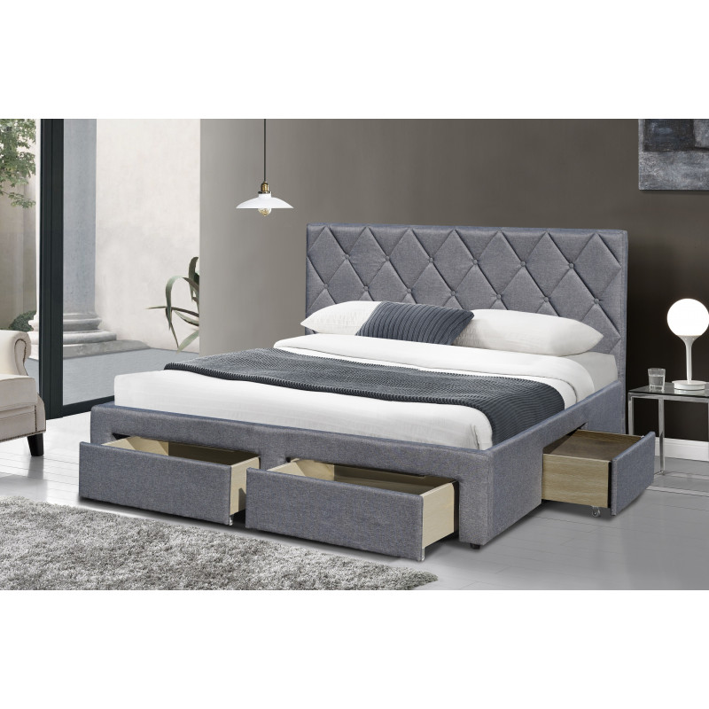 lit 160x200cm tissus gris avec sommier tiroirs tete de lit capitonnee. Black Bedroom Furniture Sets. Home Design Ideas