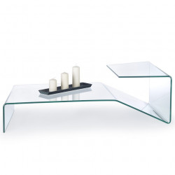 Table basse design en verre originale Tana 120x60cm