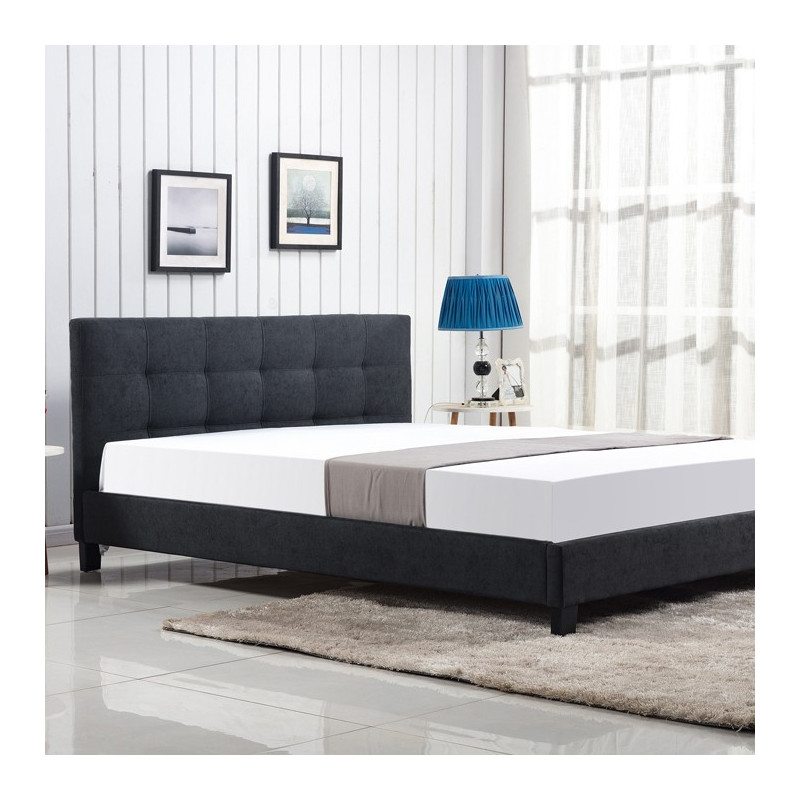 lit tissu gris fonc 160x200 cm t te de lit capitonn e. Black Bedroom Furniture Sets. Home Design Ideas