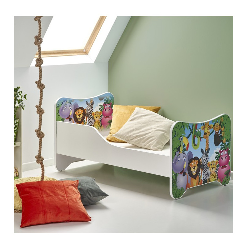 Lit enfant multicolore jungle 145x76cm Moogly