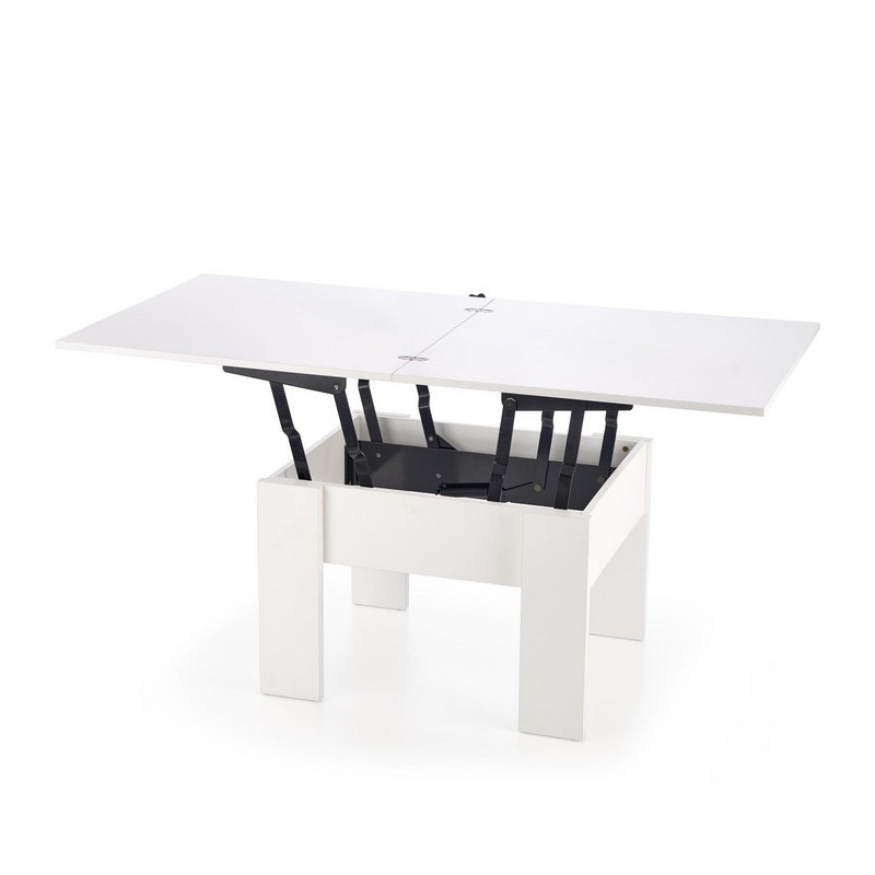 table basse extensible et relevable blanche 80x80cm wink so inside. Black Bedroom Furniture Sets. Home Design Ideas