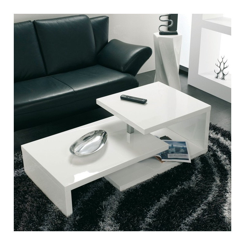Table basse modulable blanche lika tables basses design noir blanc - Table de salon rectangulaire ...
