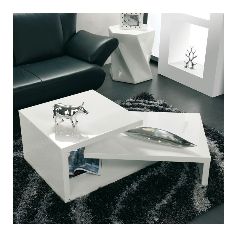Table basse modulable blanche lika tables basses design noir blanc - Table basse blanche rectangulaire ...