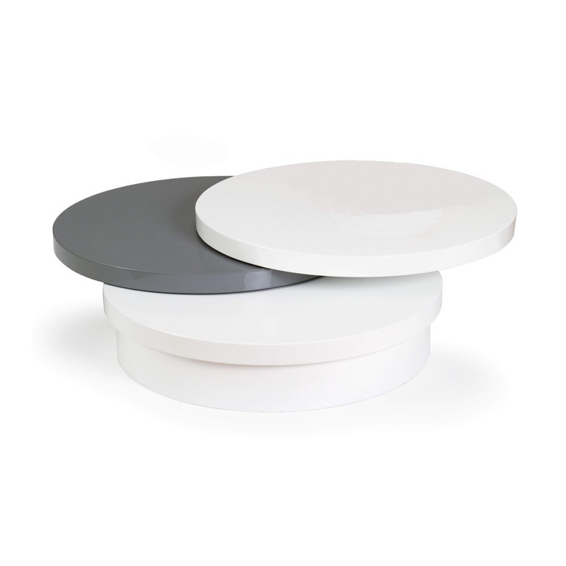 Table basse modulable laqu e blanc et gris disco table for Table basse scandinave gris et blanc