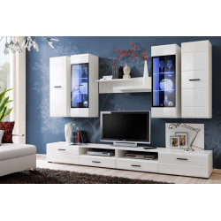 Ensemble TV mural blanc brillant Lagune