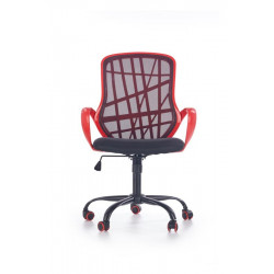 Chaise de bureau design membrane et filet noir et rouge Adela