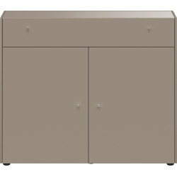 Commode 2 portes 1 tiroir gris pierre HEAVY