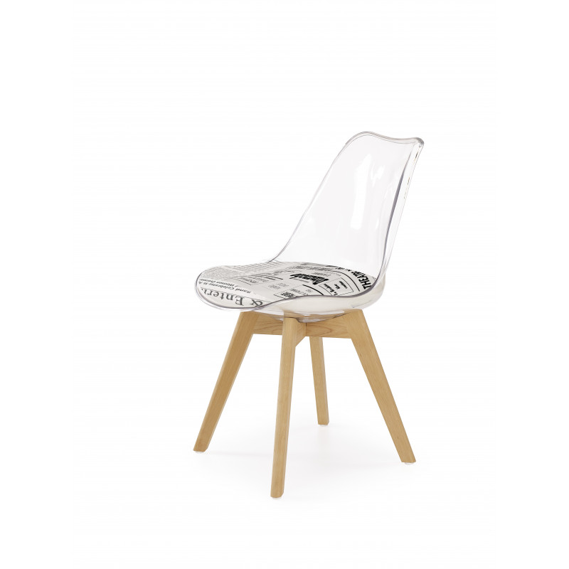 Chaise contemporaine bois et transparent Tilda