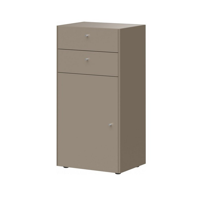 Commode 1 porte 1 tiroir gris pierre HEAVY