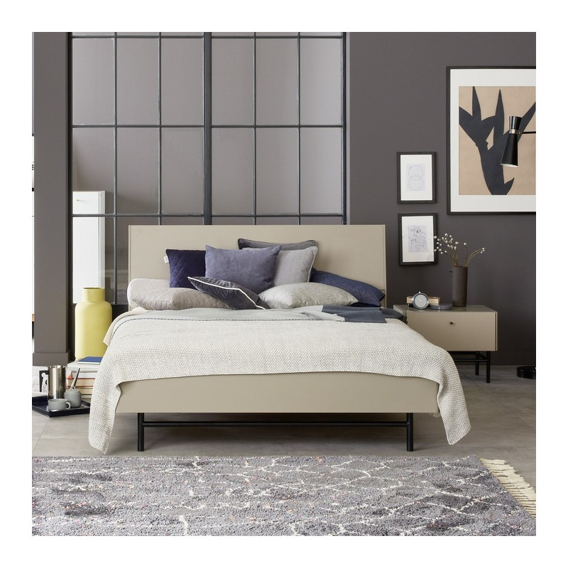 encadrement de lit 2 personnes gris pierre 140x200 cm. Black Bedroom Furniture Sets. Home Design Ideas