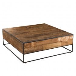 Table basse carrée design industriel 100x100cm Tinesixe