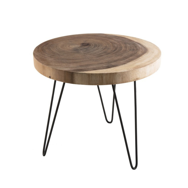 Table d'appoint nature mungur et métal 55cm Woody