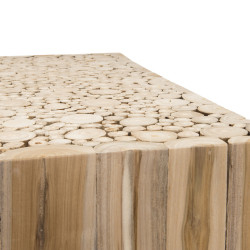 Table basse design carrée teck 70x70cm Woody