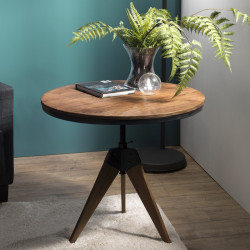 Table d'appoint ronde industrielle réglable 70cm Tinesixe