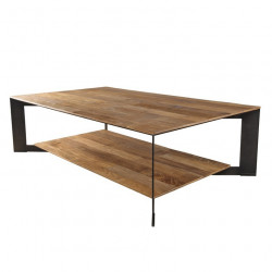 Table basse industrielle originale teck et métal 120x70cm Nolwen
