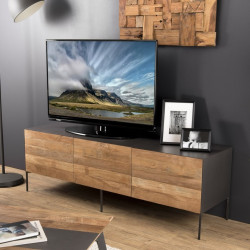 Meuble TV design industriel 166x45cm Nolwen