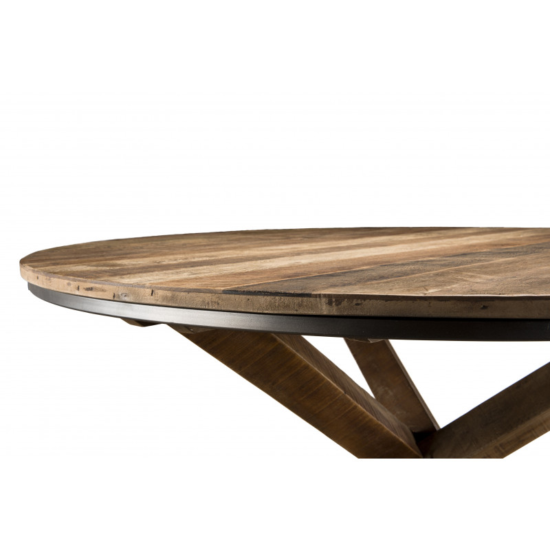 Table à manger ronde design industriel 130cm Tinesixe