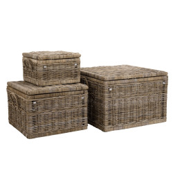Lot de 3 coffres en kubu Woody