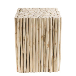 Table d'appoint design branches de teck 35x35cm Woody