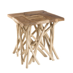 Table d'appoint design teck et bois flotté 55cm Woody