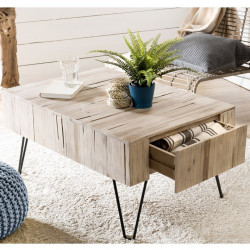 Table basse rectangulaire planches teck et métal 90x60cm Woody