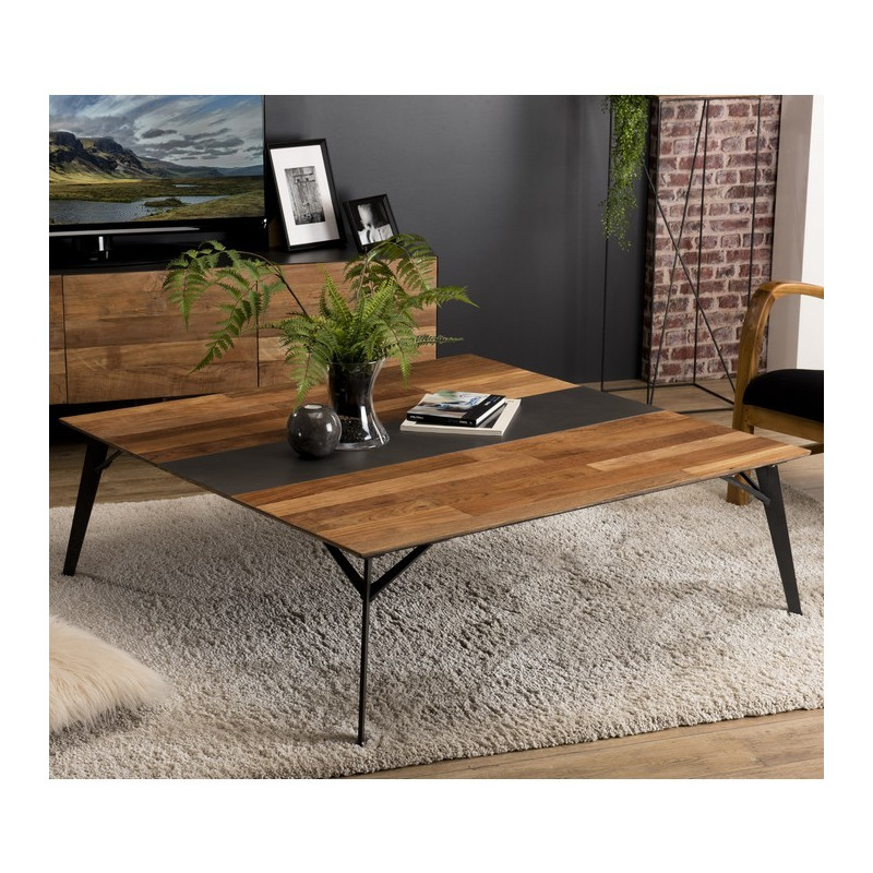 table basse design solde table basse de forme carr e style industriel en bois de