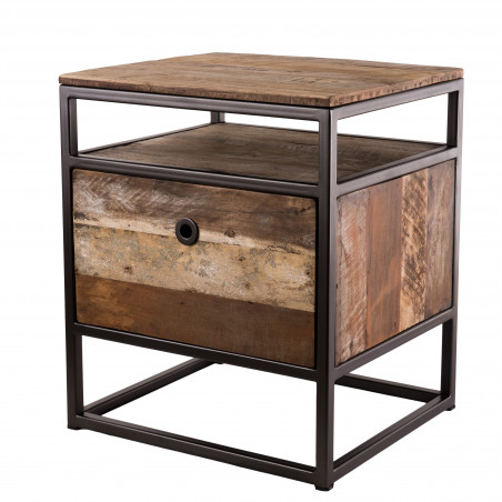 Table d'appoint style industriel 47x40cm Tinesixe