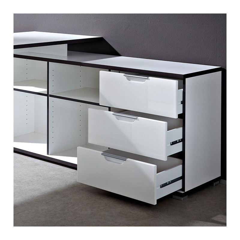 bureau d 39 angle design avec caisson area bureaux design noir et blanc. Black Bedroom Furniture Sets. Home Design Ideas