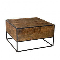 Table d'appoint carrée design industriel 60x60cm Tinesixe