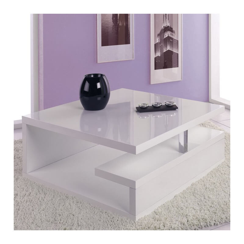 Table basse sur roulettes laqu e blanc giani Table basse laquee blanc