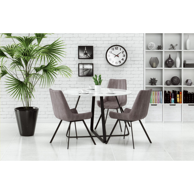 jolie table ronde noire et blanche avec plateau en verre. Black Bedroom Furniture Sets. Home Design Ideas