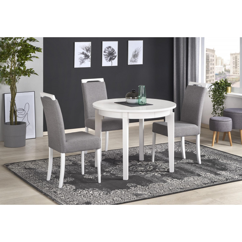 table ronde blanche extensible avec pieds en h tre. Black Bedroom Furniture Sets. Home Design Ideas