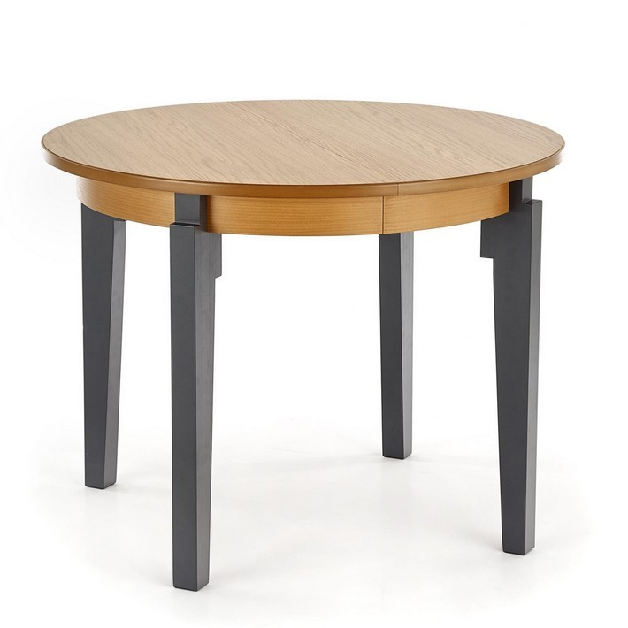 Table Ronde Bois Massif.Table Ronde Extensible Plateau Style Chene Avec Pieds Gris Anthracite Cox