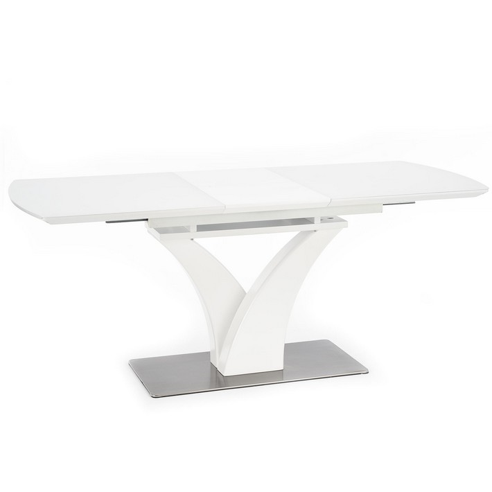 Table Mat Blanc Avec Extensible Sparte Design Rectangulaire Central Pied PwX8n0Ok
