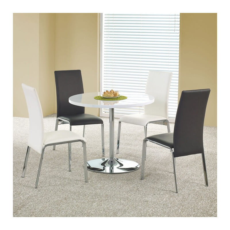 Table de cuisine ronde diam tre 90cm blanche fred for Table cuisine blanche