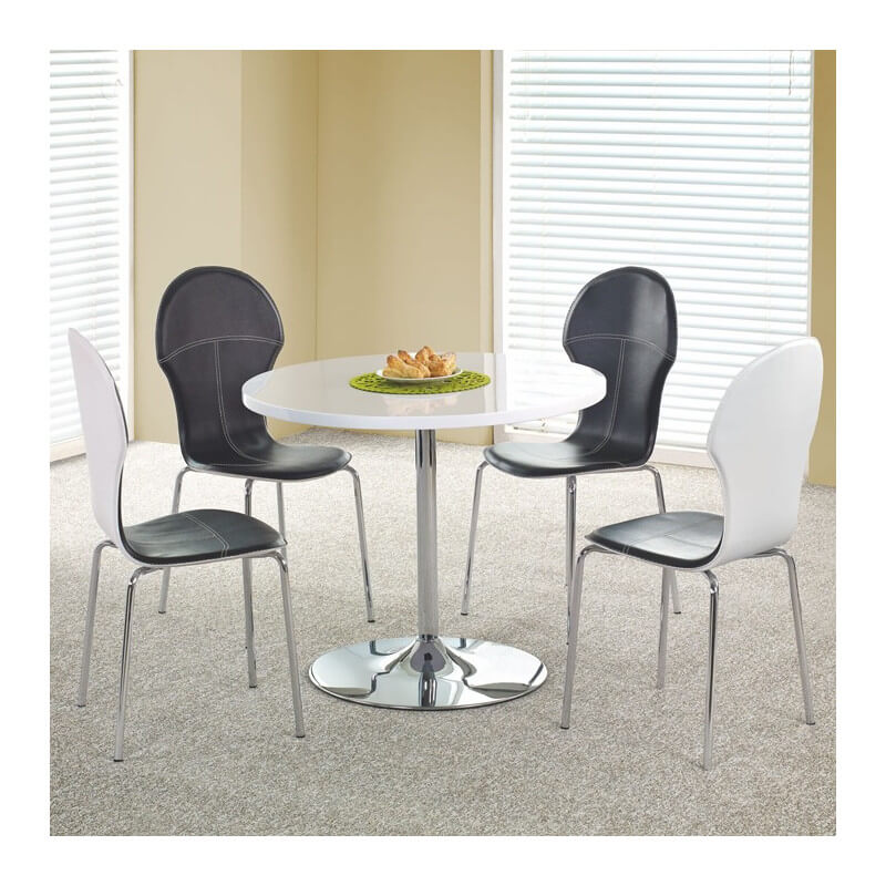 table de cuisine ronde diam tre 90cm blanche fred. Black Bedroom Furniture Sets. Home Design Ideas